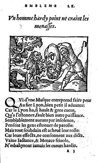 Emblem book - Woodcut from Guillaume de La Perrière, Le Théâtre des bons engins, 1545.