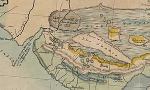 1819 Rann of Kutch earthquake - 1854 map of the region by George Bellas Greenough