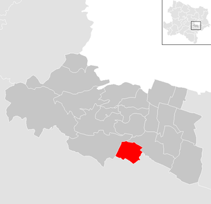 Location of the municipality of Gumpoldskirchen in the Mödling district (clickable map)