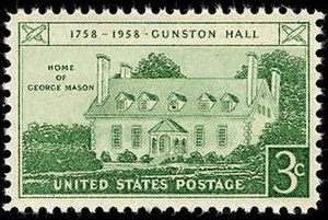 George Mason - Gunston Hall postage stamp, 1958 issue