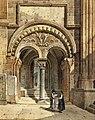 Gustav Adolf Hahn - Gespräch vor dem romanischen Portal des Domes von Wetzlar 1867.jpg