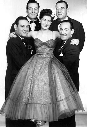Guy Lombardo - Guy Lombardo at left with brothers, Victor, Lebert, and Carmen, and sister Rosemarie, 1954