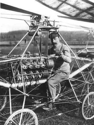 Paul Cornu - French engineer Paul Cornu in his first helicopter in 1907. Note that he is sitting between the two rotors, which rotated in opposite directions to cancel torque. This helicopter was the first flying machine to have risen from the ground using rotor blades instead of wings.