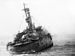 Mediterranean U-boat Campaign (World War I) - Image: HMS Britannia (1904) sinking on 9 November 1918