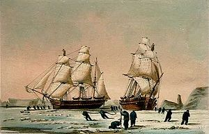 HMS Investigator (1848) - The Devils Thumb, Ships Boring and Warping in the Pack, Dedicated by special permission to the Lords Commissioners of the Admiralty By their Lordships most obedient Servant W H Browne, Lt. R N