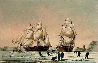 HMS Enterprise (1848) - The Devils Thumb, Ships Boring and Warping in the Pack, Dedicated by special permission to the Lords Commissioners of the Admiralty By their Lordships most obedient Servant W H Browne, Lieut R N