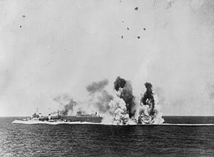 HMS Kenya (14) - Operation Pedestal, 12 August 1942: Kenya under air attack on her return voyage to Gibraltar.