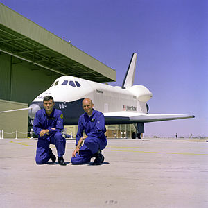 The first crew members for the Space Shuttle A...