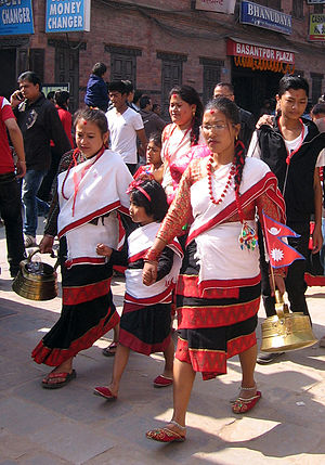 Newar traditional clothing - Hāku patāsi