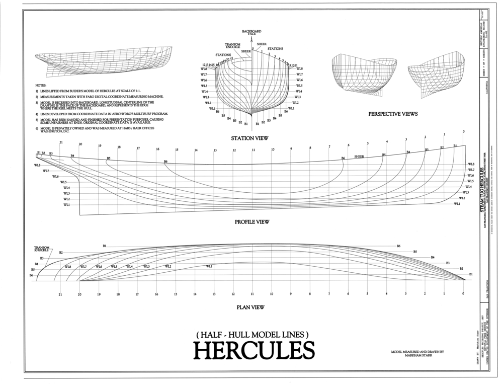 File:Half-Hull Model Lines - Steam Tug HERCULES, Hyde Street Pier, San Francisco, San Francisco ...