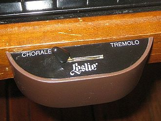 "Leslie speaker - The half-moon switch on a Hammond organ that changes setting on the Leslie speaker between ""chorale"" and ""tremolo"""
