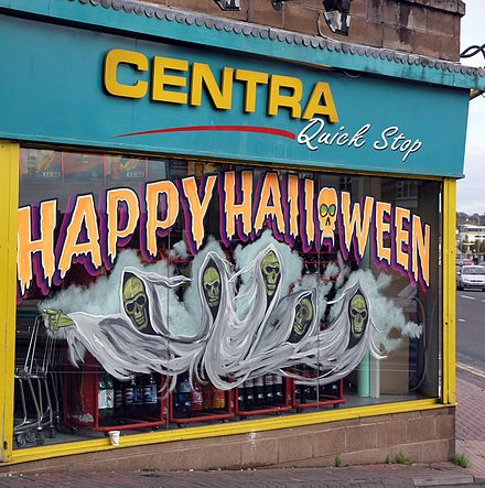 A shop in Derry decorated for Halloween Halloween Derry 2005.jpg