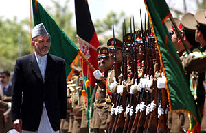 Hamid Karzai reviews troops of the first gradu...