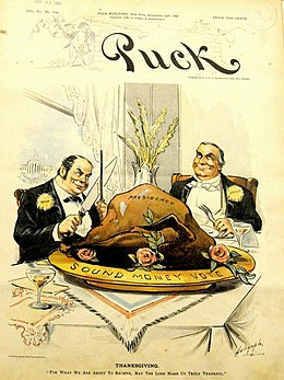 "A political cartoon in color. Two caricatured gentlemen in suits sit at a table with large, exaggerated cutlery, a colossal turkey before them, marked ""Presidency"". The plate bears the words, ""Sound money vote"". ""For what we are about to receive,"" says the man on the left, holding the carving knife with a look of deceitful intrigue, ""May the Lord make us truly thankful."""