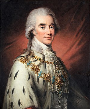 Axel von Fersen the Younger - His Excellency the Right Honourable Lord Count Axel von Fersen, dressed in the robes of a Swedish Privy Councilor, with the Knight collar of the Order of the Seraphim and the Commander Grand Cross collar of the Order of the Sword around his neck.