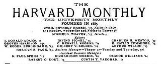 E. E. Cummings - Masthead from volume 56 of The Harvard Monthly; Cummings was an editor and contributor to this literary journal while at Harvard