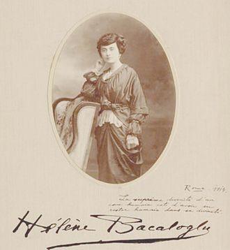 Elena Bacaloglu - Bacaloglu's studio photograph and autographed dedication, 1914