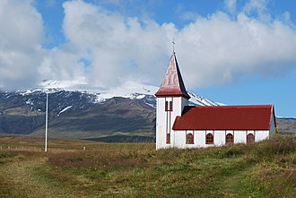 Hellnar - Church in Hellnar with Snæfellsjökull, Iceland