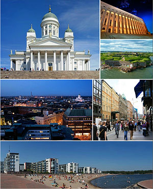 View of the Helsinki Cathedral, Helsinki parliament house, Suomenlinna, Aleksanterinkatu and Aurinkolahti Beach