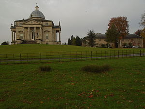 Henbury Hall, Cheshire - The neo-Palladian house (left) and converted stables (right)