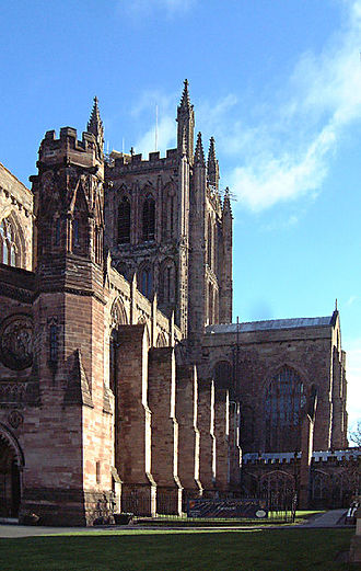 Hugh de Mapenor - Exterior view of Hereford Cathedral, where Mapenor is buried.