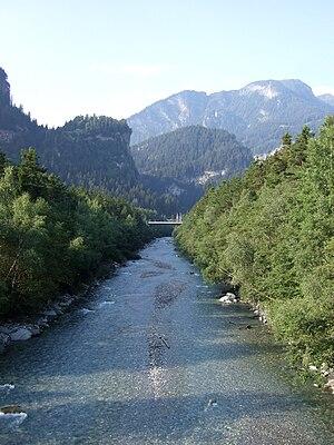 Sils im Domleschg - Hinterrhine river near Sils im Domleschg, with Hohen Rätien in the background
