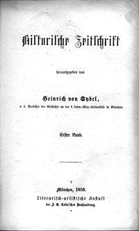 Titelblatt des ersten Bandes der HZ, München 1859