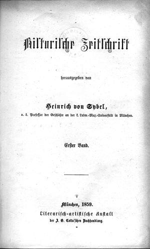 Historische Zeitschrift - Image: Historische Zeitschrift Bd. 001 (1859) !01