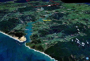 Hokianga - Image of the Hokianga generated by NASA's World Wind program