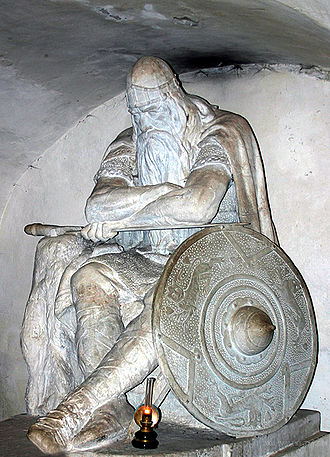 Ogier the Dane - Hans Peder Pedersen-Dan's statue of Holger Danske in the casemates at Kronborg castle, Denmark