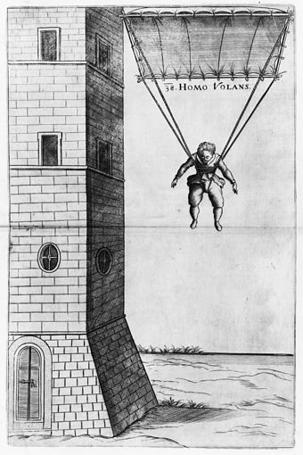 "Fausto Veranzio's parachute design, titled Homo Volans (""Flying Man""), from his Machinae Novae (""New Contraptions"", published in 1615 or 1616) Homo Volans.jpg"