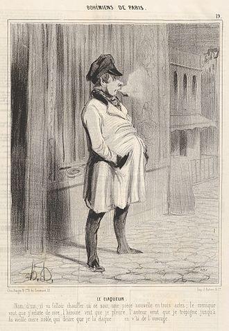 Claque - Le claqueur by Honoré Daumier, 1842.