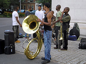 Horn players in Washington Square by David Sha...