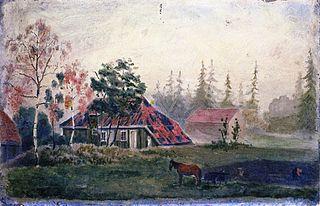 Cheval et Wagon devant les bâtiments Farm