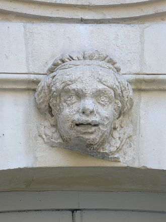 Catherine Bellier - A grotesque face in the main courtyard of the Hotel de Beauvais, reputedly a portrait of Catherine Bellier
