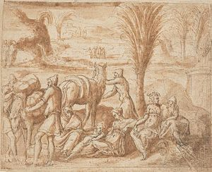 Elim (Bible) - Depiction of the Hebrews camping in Elim, by Bernard Salomon, c. 1550