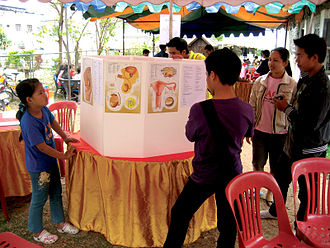 Human reproduction - Lao students study a display about the human reproductive system. Exhibits such as this are rare in many less-developed countries, such as Laos. This event was held by Big Brother Mouse, a literacy and education project, which added Lao explanations to a commercially available set of panels that were printed with English.