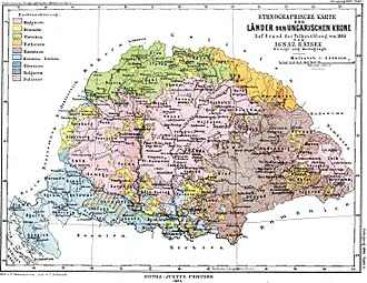 Treaty of Trianon - 1885 ethnographic map of the Lands of the Crown of Saint Stephen, i.e. Kingdom of Hungary and Croatia-Slavonia according to the 1880 census