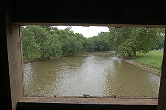Conestoga River - The Conestoga River as seen from the inside of Hunsecker's Mill Covered Bridge in Lancaster County