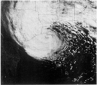 Hurricane Juan (1985) - Satellite image of Juan making landfall