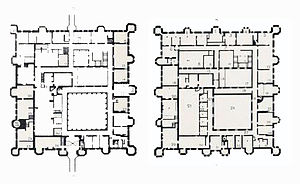 Herstmonceux Castle - Floor plan of the original house; (l) ground floor, (r) first floor