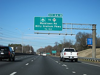 Interstate 77 in North Carolina - Image: I 77 US21 Woodlawn Billy Graham Overhead Sign