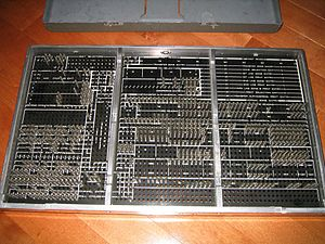 Plugboard - Reverse side of the same 402 plugboard, showing the pins that make contact with the machine's internal wiring. The holes were called hubs.