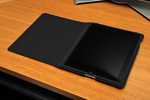 IPad (1st generation) - The original iPad in its black case
