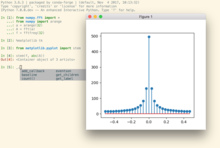 Screenshot of IPython 6.x on Mac OS, showing the computation of a fourrier transform using numpy.