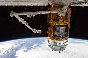 Kounotori 3 - HTV-3 berthed to the Earth-facing port of the Harmony node on 27 July 2012.