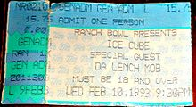 A Ticket From 1993 Ice Cube Concert In Omaha Nebraska