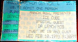 Ice Cube - A ticket from a 1993 Ice Cube concert in Omaha, Nebraska.