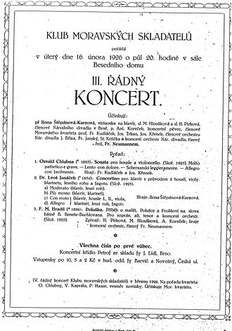 Concertino (Janáček) - Première of Janáček's Concertino, 16 February 1926