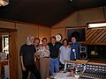 In the studio from left to right.John Mceuen Tim Cooney Rodney Dillard Ricky Scaggs Jeff Hanna and Randy Scruggs.jpg